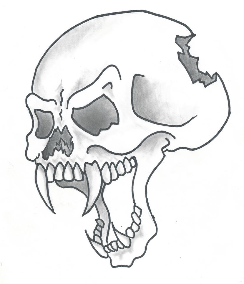 cartoon style skull by sticksnstones89 on deviantart
