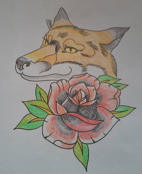 neo traditional fox and rose tattoo design by