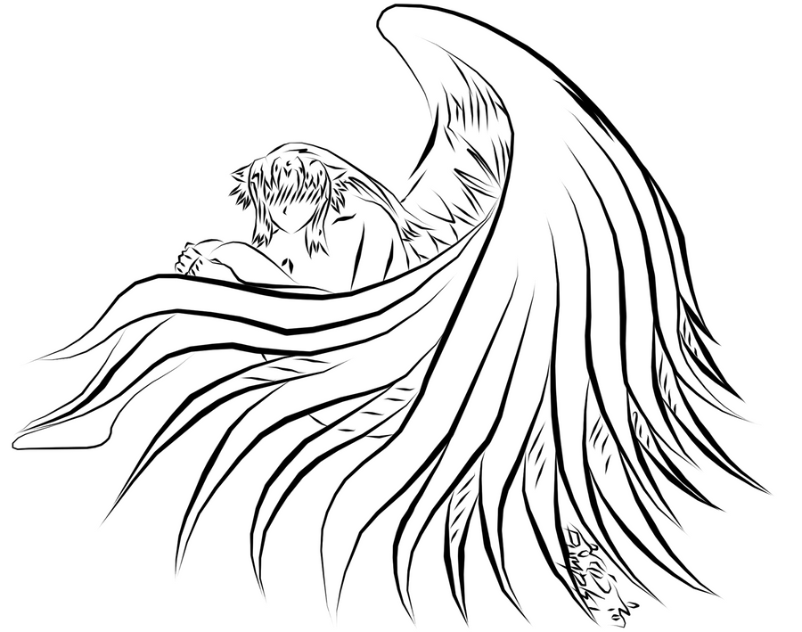 Line Drawing Wings : Wings from heaven line art by pumpki on deviantart