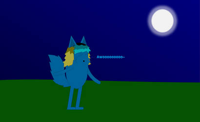 Wolf Bean howling to the moon