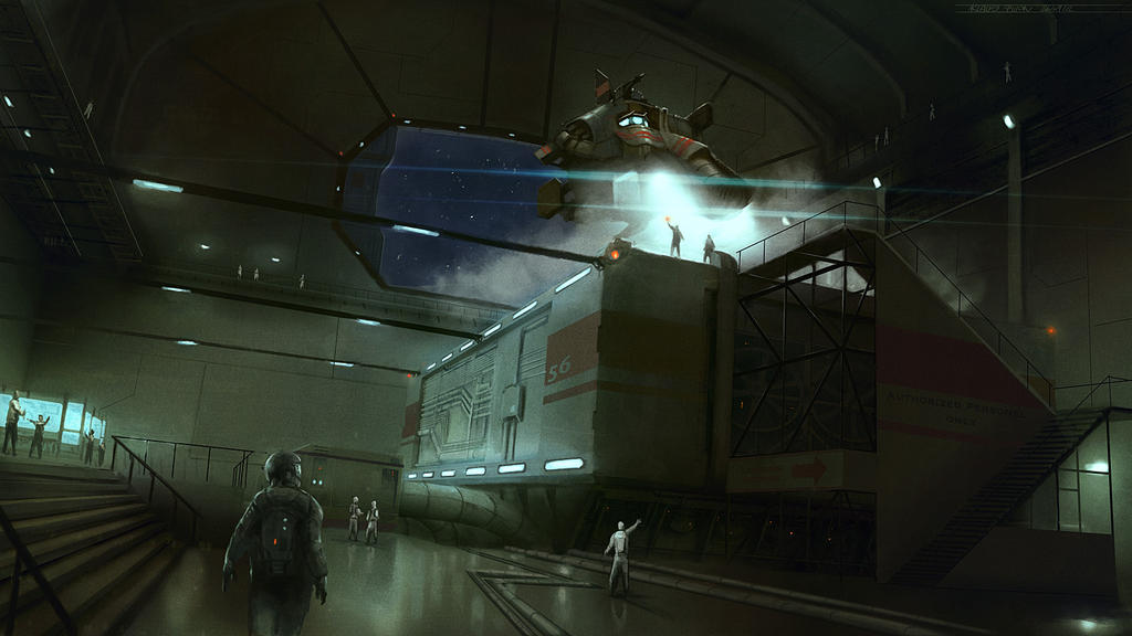 Space Station Landing Bay by KlausPillon
