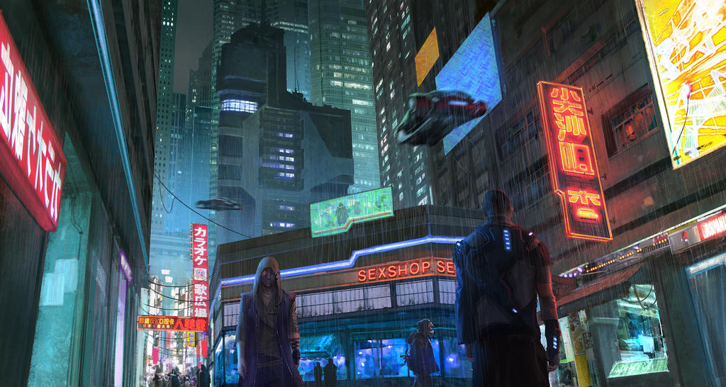 CyberPunk city street by KlausPillon