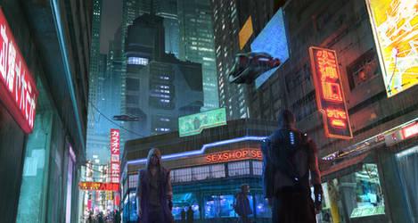 CyberPunk city street by KlausPillon
