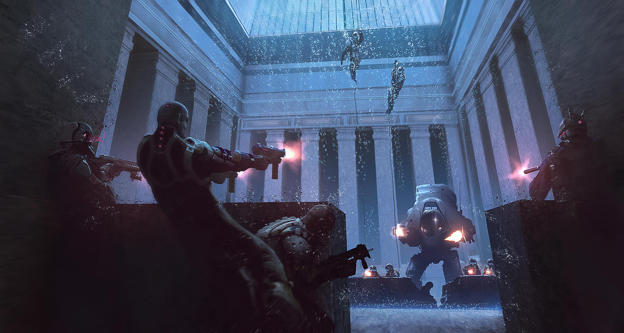 Firefight in a Corporate Lobby by KlausPillon