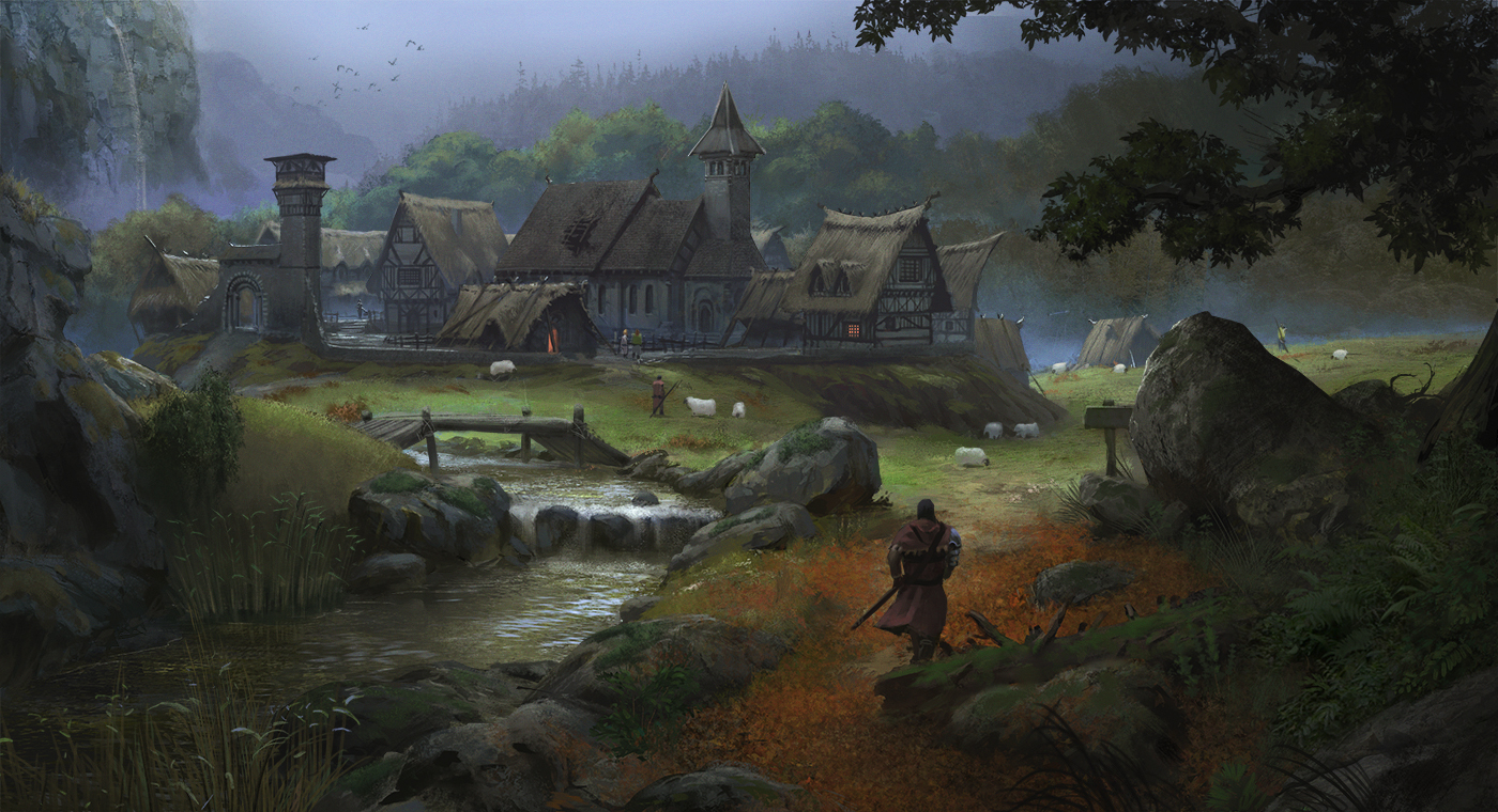 Resultat d'imatges de medieval village art