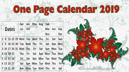 One Page Calendar 2019