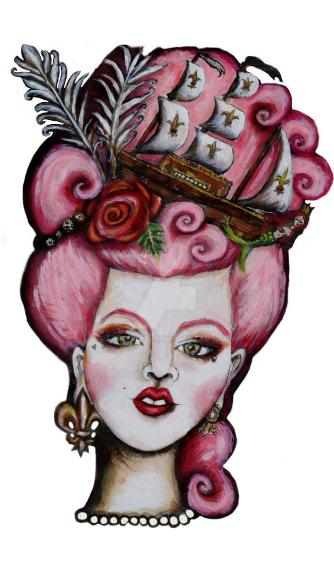 beheaded marie antoinette pink hair by taraozella
