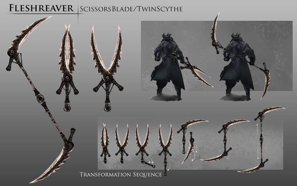 Bloodborne Fanart - Fleshreaver weapon idea by daemonstar