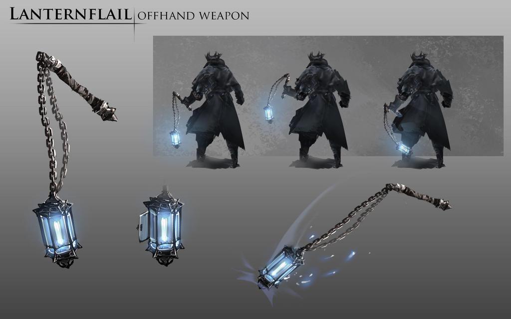 Bloodborne Fanart - Lanternflail weapon idea by daemonstar
