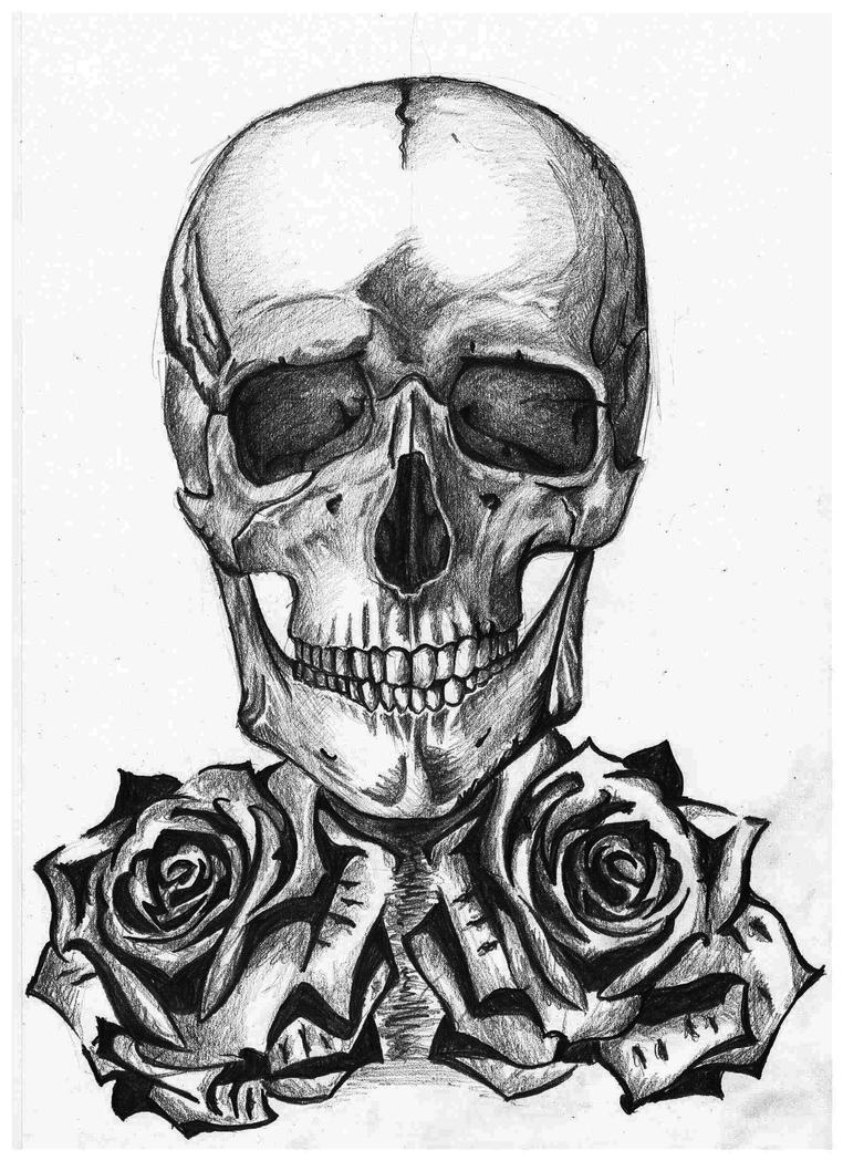 Hand Drawings Roses And Skulls: Skull With Roses, A4 By Eszkaaa On DeviantArt