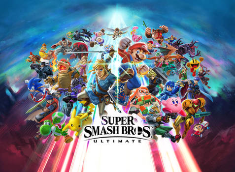 Super Smash Bros. Ultimate OFFICIAL Key Art (Wide) by Leafpenguins
