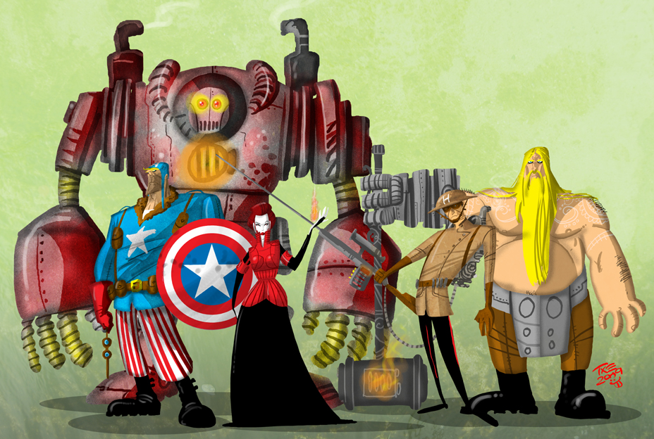 Vengadores Steampunk Steam_Punk_Avengers_by_themico