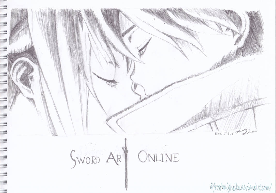 Kirito and asuna sword art online pencil sketch by frostynightsky