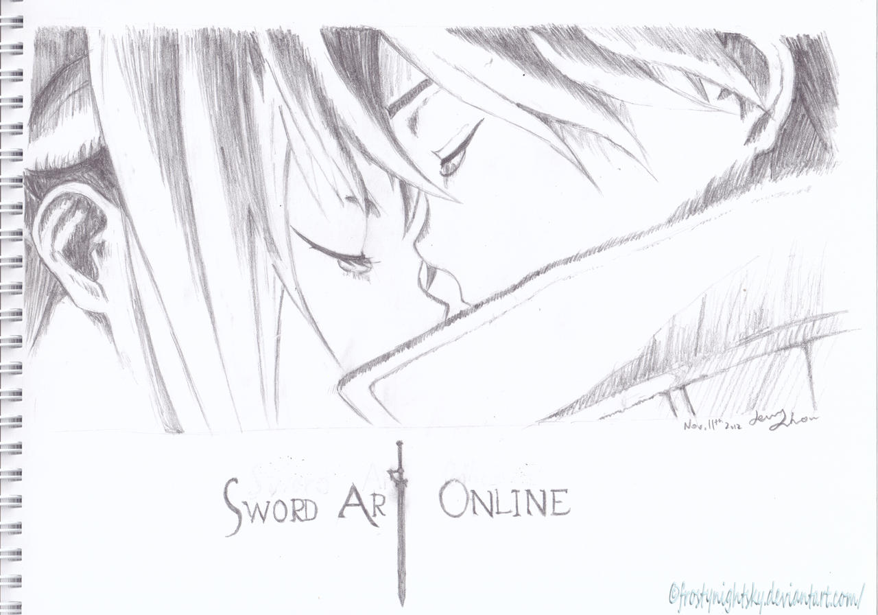 Kirito And Asuna Sword Art Online Pencil Sketch By