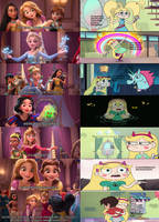 Star Butterfly meets the Disney Princesses by AriaVampireRose7