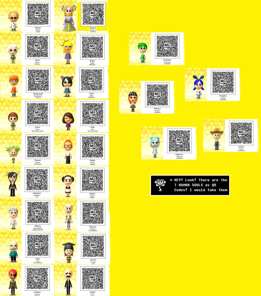 Tomodachi Life: Undertale QR Codes! by MarshalACNL on DeviantArt