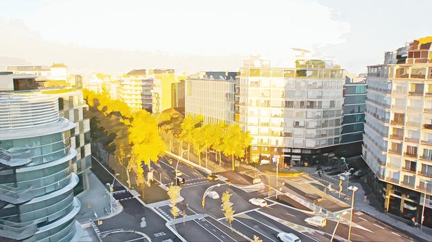 Golden light on city street
