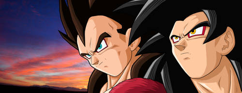 Goku SSJ4 and Vegeta SSJ4 by drozdoo