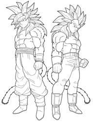 Goku SSJ4 Vegeta SSJ4 preview by drozdoo