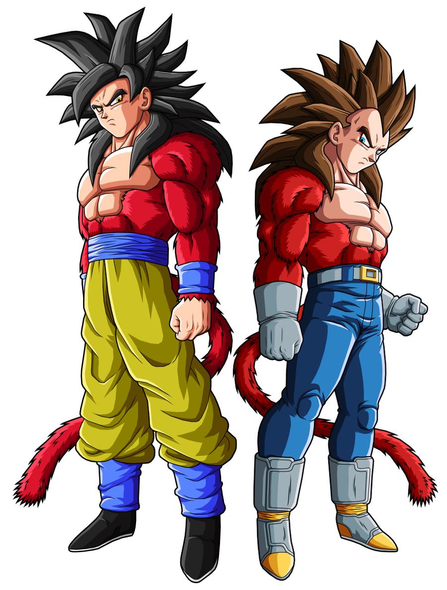 Goku SSJ4 and Vegeta SSJ4 by drozdoo