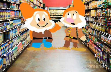Happy and Sneezy in the store by Pinocchiofan4ever