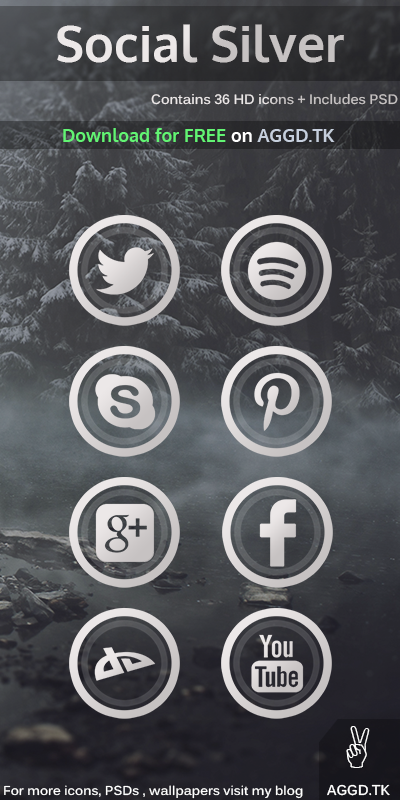 Social Silver Icon Pack + PSD