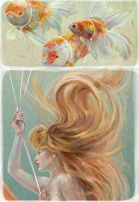 Mermaid with Goldfish Balloons - Detail