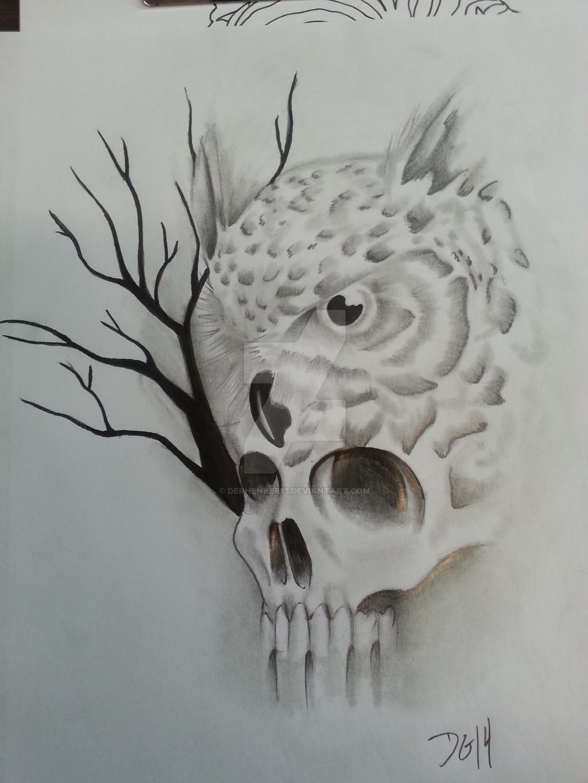 Owl tree skull tattoo by derhenker13 on deviantart for Owl tattoo skull