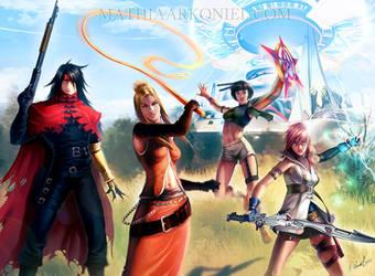 commission: Vincent, Quistis, Yuffie, Lightning by MathiaArkoniel