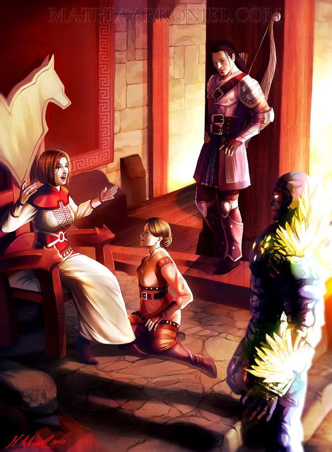dragon age: Leliana, Shale, Nathaniel and Warden by MathiaArkoniel