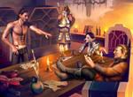 dragon age: Hawke, Merrill, Aveline, Varric