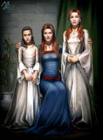 asoiaf: Arya, Catelyn, Sansa by MathiaArkoniel