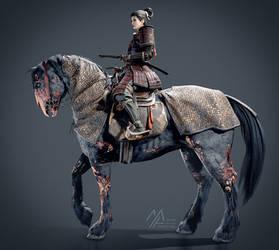 3d: Undead Warhorse and Necromancer Rider by MathiaArkoniel