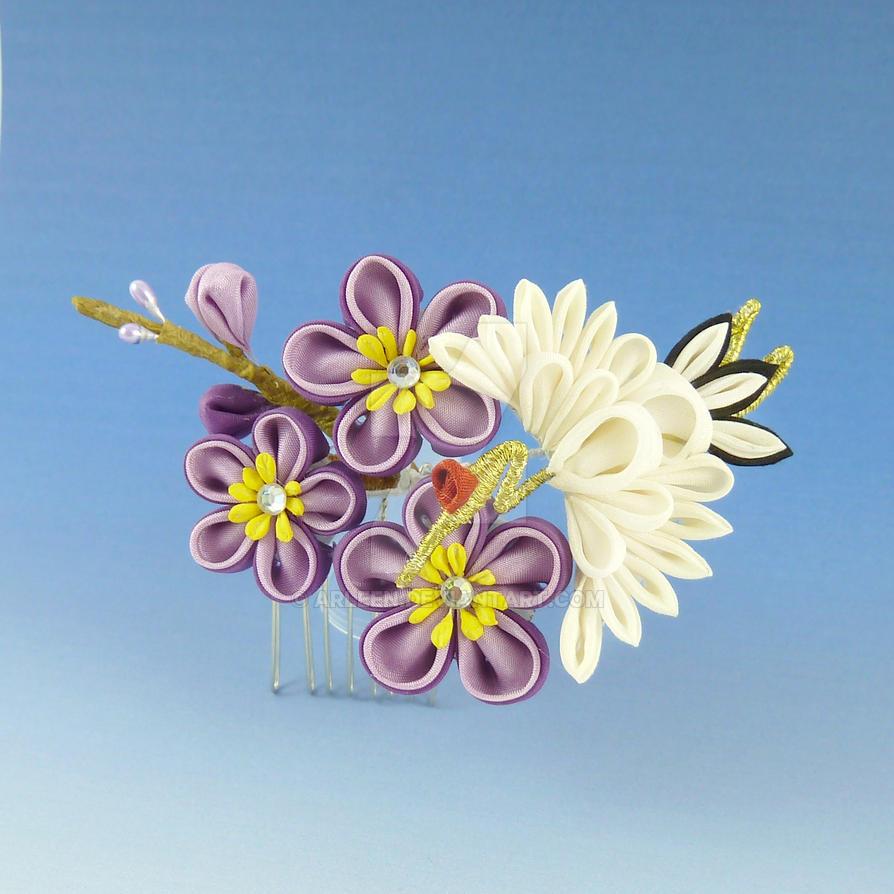 Purple Flowers Crane by Arleen