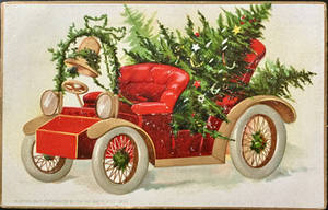 Antique Automobile with Christmas Tree by Yesterdays-Paper