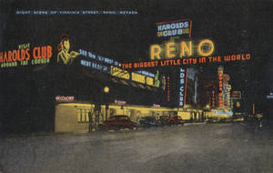 Night Scene Postcards - The Reno Arch by Yesterdays-Paper