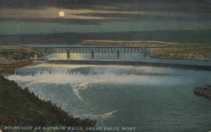 Vintage Montana - Moonlight at Rainbow Falls by Yesterdays-Paper