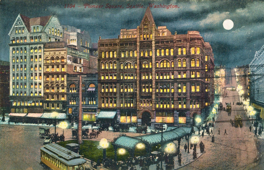 night scene postcards pioneer square seattle by yesterdays paper