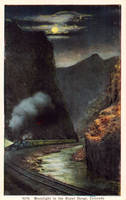 Night Scene Postcards - Moonlight In Royal Gorge by Yesterdays-Paper