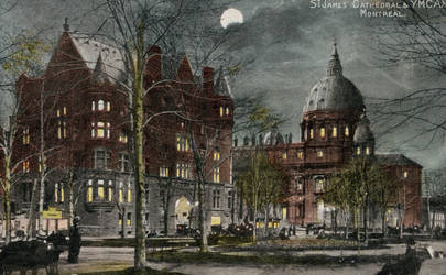 Night Scene Postcards - Dominion Square, Montreal by Yesterdays-Paper