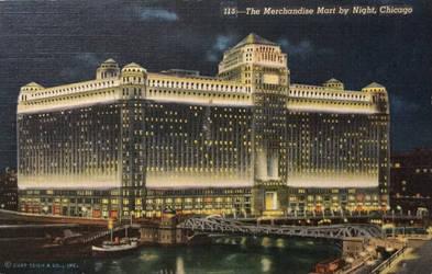 Night Scene Postcards - Chicago Merchandise Mart