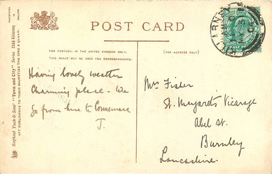 Antique Postcard Back 055 - Killarney by Yesterdays-Paper