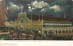 Night Scene Postcards - Atlantic City Board Walk by Yesterdays-Paper