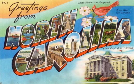 Large Letter Postcard - North Carolina