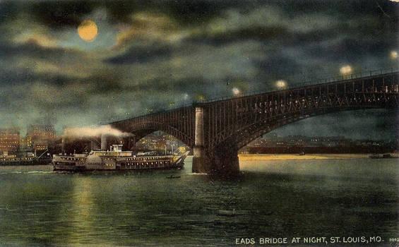 Night Scene Postcards - Eads Bridge, St. Louis MO