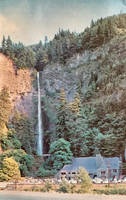 Vintage Oregon - Multnomah Falls And Lodge by Yesterdays-Paper