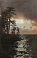 Night Scene Postcards - Moonlight on Lake Tahoe by Yesterdays-Paper