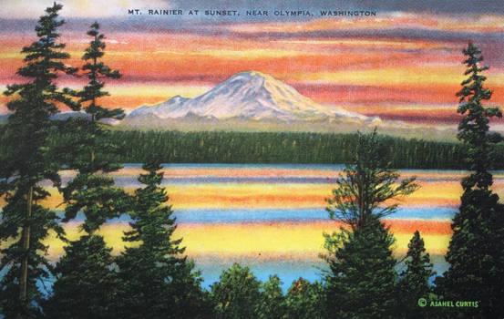 Vintage Washington - Mt. Rainier at Sunset
