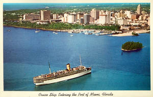 Vintage Miami - Cruise Ship Entering Port by Yesterdays-Paper