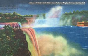 Night Scene Postcards - Niagara Falls Illumination by Yesterdays-Paper